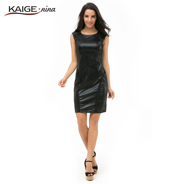 Kaige.Nina New Women's Brief Pure Color Style 7 Minutes Of Sleeve Hollow-out Decorative Straight Knee-length Autumn Dress 2241