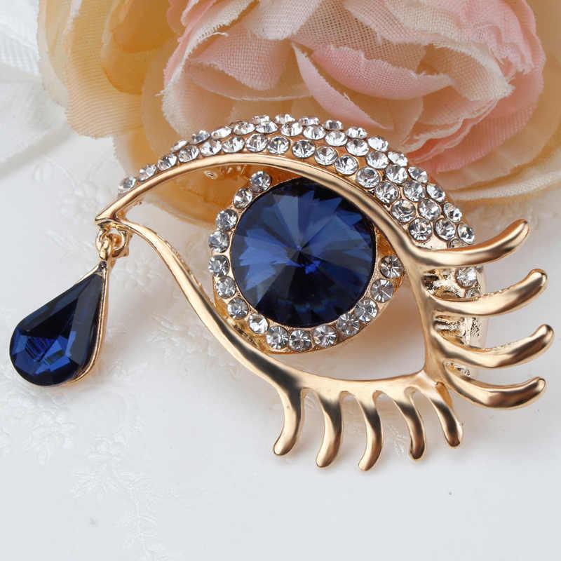 Vendita Diretta della fabbrica Blu Spilla Occhio Spille Con Rhinestones di Cristallo in oro o argento colore placcato