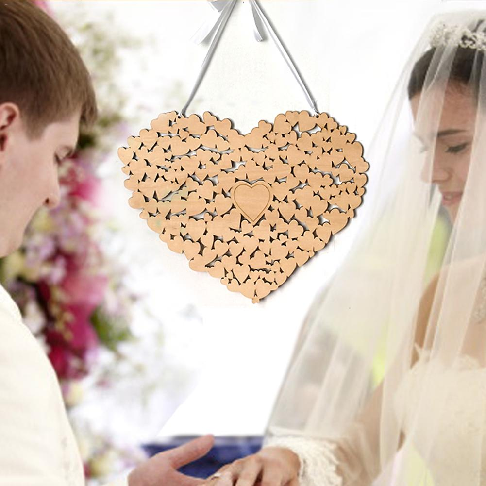 Wedding Guest Book Ideas Diy: Wooden Puzzle Heart Shaped Wedding Guestbook Alternative