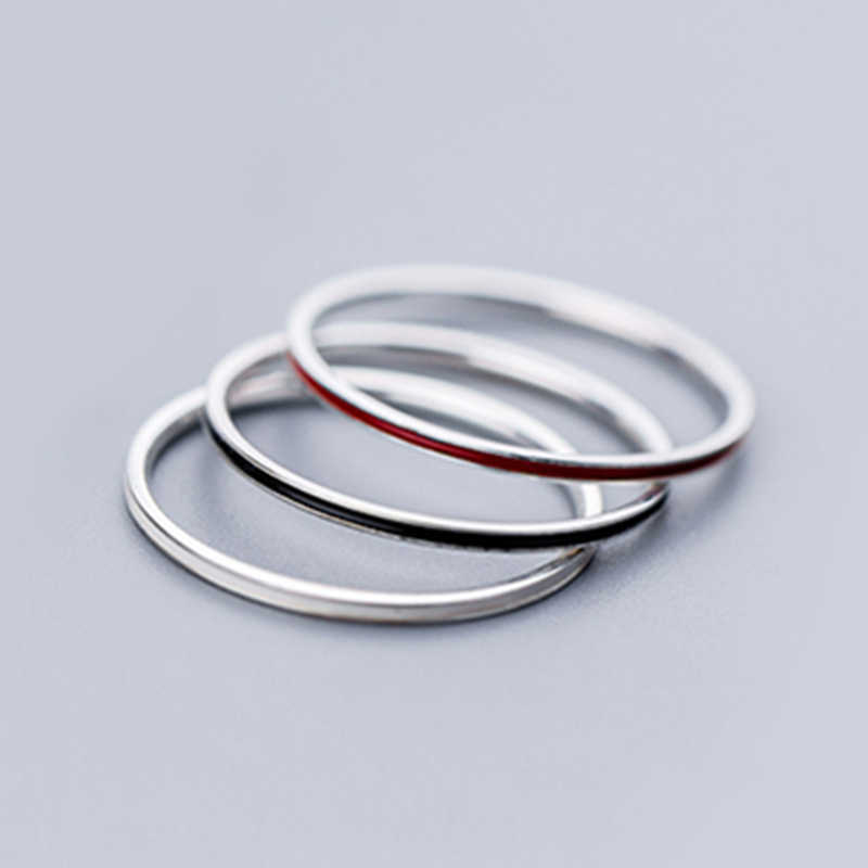 3 ชิ้น/เซ็ตง่ายกว้าง 1 มม. 925 เงินสเตอร์ลิงบางเรียบวงกลมแหวน Little Knuckle Midi แหวนผู้หญิงเครื่องประดับ