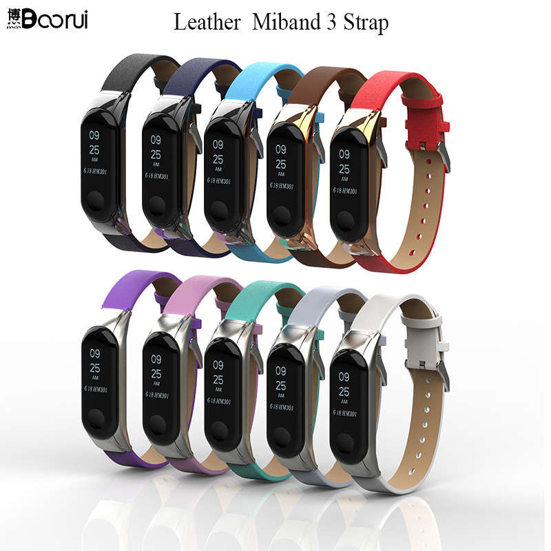 BOORUI Leather Miband 3 Strap Smart Accessories For Xiaomi Mi Band 3 Strap Replacement  Anti-Lost Sports Belt With Metal Case