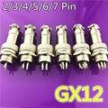 1 комплект GX12 2/3/4/5/6/7 Штекерный + гнездовой штырьковый разъем для планшетов с пластиковой крышкой, 12 мм