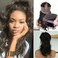 360 Кружева Фронтальная Закрытие С Регулируемыми Ремнями Объемной Волны Волнистые Бразильского Виргинские Волос 360 Кружева Группа Фронтальная С Естественной линии роста волос