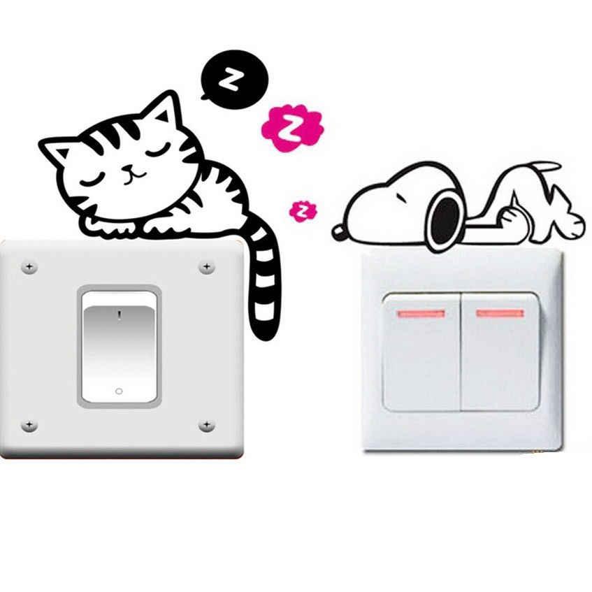 Забавная для кошек собак съемный художественный виниловый стикер для переключателя домашнего декора на стену и окно, 1 шт.