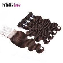 Модные женские предварительно цветные малазийские объемные волнистые человеческие пучки волос с закрытием 3/4 темно-коричневые пучки волос с закрытием не Реми