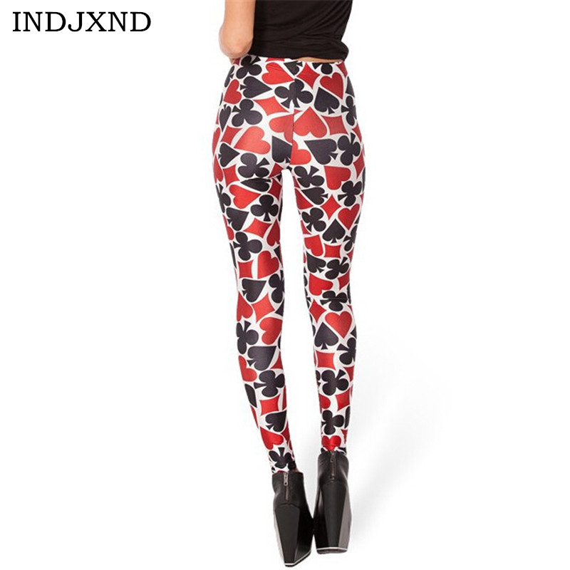 INDJXND Autumn Poker Flower Leggings Halloween Printed Fashion Stretch Female Leggins For Women Leggin Punk Rock Clothing