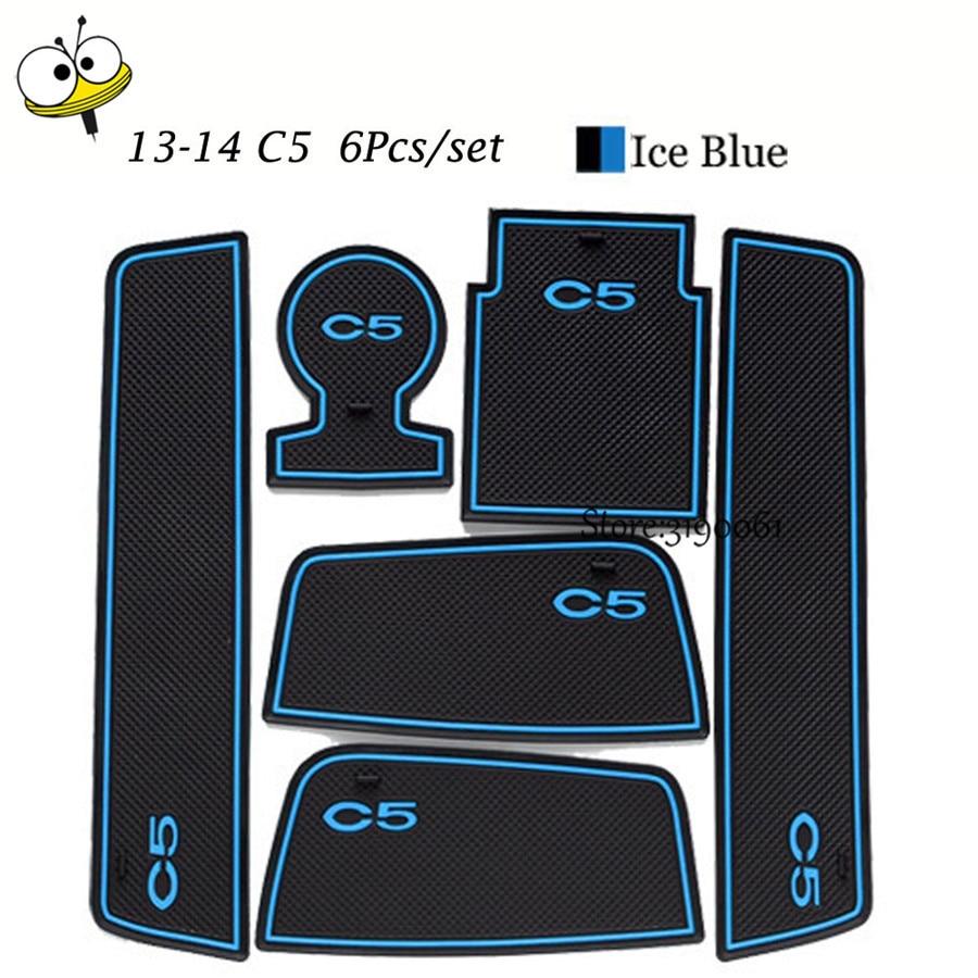 Car Interior Accessories Rubber Auto Luminous Gate Slot Door Pad Anti-Slip Cup Holder Mat Cushion For Citroen 2013-2014 C5 11 pcs set car styling interior latex gate slot pad non slip cup mat accessories for bmw new 3 series f30 f35 320li 316i 328 lhd