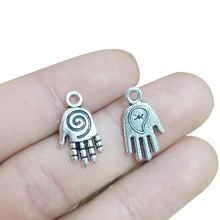 TJP 20pcs Antique Silver Tone Hand Spiral Swirl Charms Pendants Beads for DIY Necklace Bracelet Jewelry Making Findings 19x11mm