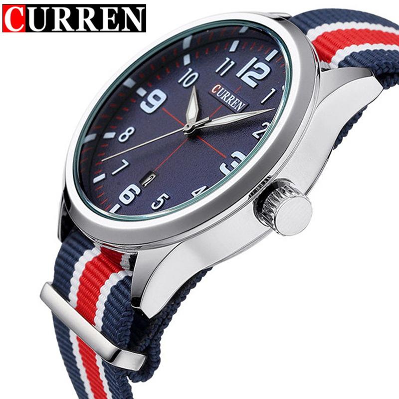 2017 Men's Fashion Casual Quartz Watch Curren Brand Men Watches Waterproof Nylon Strap Male Clock Wristwatches Relogio Masculino