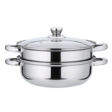 Stainless Steel Pot Glass Cover Double Steamer Stock Cooking Pot Inox 27.5cm Stock Pot Stainless Steel Cookware EZLIFE JK0933(China)