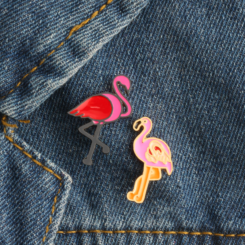 Home & Garden Xinaher 1 Pc Cute Flamingos Roller Skates Brooch Button Pins Denim Jacket Pin Jewelry Decoration Badge For Clothes Lapel Pins Arts,crafts & Sewing