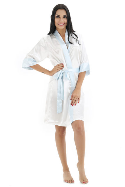 Online Shop Navy Blue Women s Short Satin Robe White Collar Bathrobe ... 542bbeeb9
