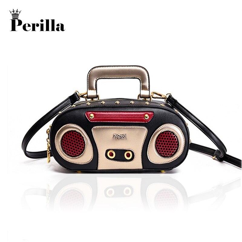 Perilla Fun personality fashion retro radio design Handbags Women Shouder Bag PU Leather Rivet Letter Bag Korea Punk Tote Bag