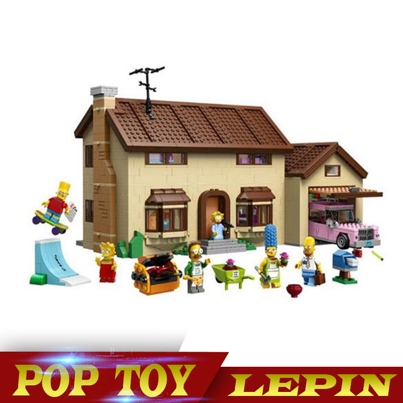 New LEPIN 16005 2575Pcs the Simpsons House Model Building Block Bricks Compatible 71006 Boy gift lepin movie figures 16005 2575pcs the simpsons house model building kits blocks bricks educational kid toy compatible with 71006