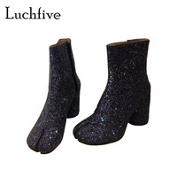 Blingbling sequins split toe ankle boots women genuine leather round high heels short boots black button winter shoes woman