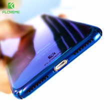 FLOVEME Luxury Plating Gradient Blue Light PC Case For iPhone 7 7 Plus 6 6s Plus Ultra Thin Blu-Ray Clear Plastic Back Cover