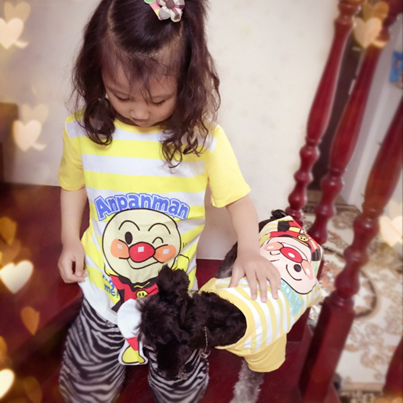 Kids Pet Clothes Cat Dog Shirts Stripes Cartoon Anpanman Chihuahua Yorkshire Terrire Puppy Family Clothing XS S M L XL