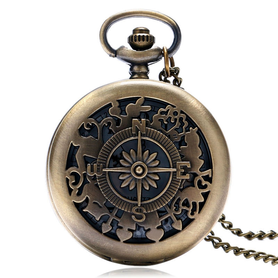 все цены на Hollow Vintage Retro Compass Hollow Design Bronze Quartz Pocket Watch Fob Watches Gift for Women Men relogio de bolso