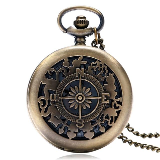 Hollow Vintage Retro Compass Hollow Design Bronze Quartz Pocket Watch Fob Watche