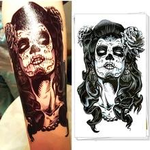 Halloween Zombie Lady Temporary Tattoo Body Art Flash Tattoo Stickers, 12*20cm Waterproof Tatoo Summer Style Adult Sex Products