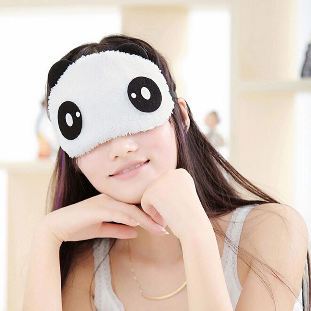 新しいかわいいパンダフェイスアイトラベルスリーピングかわいい目隠しマスクポータブル昼寝カバー目