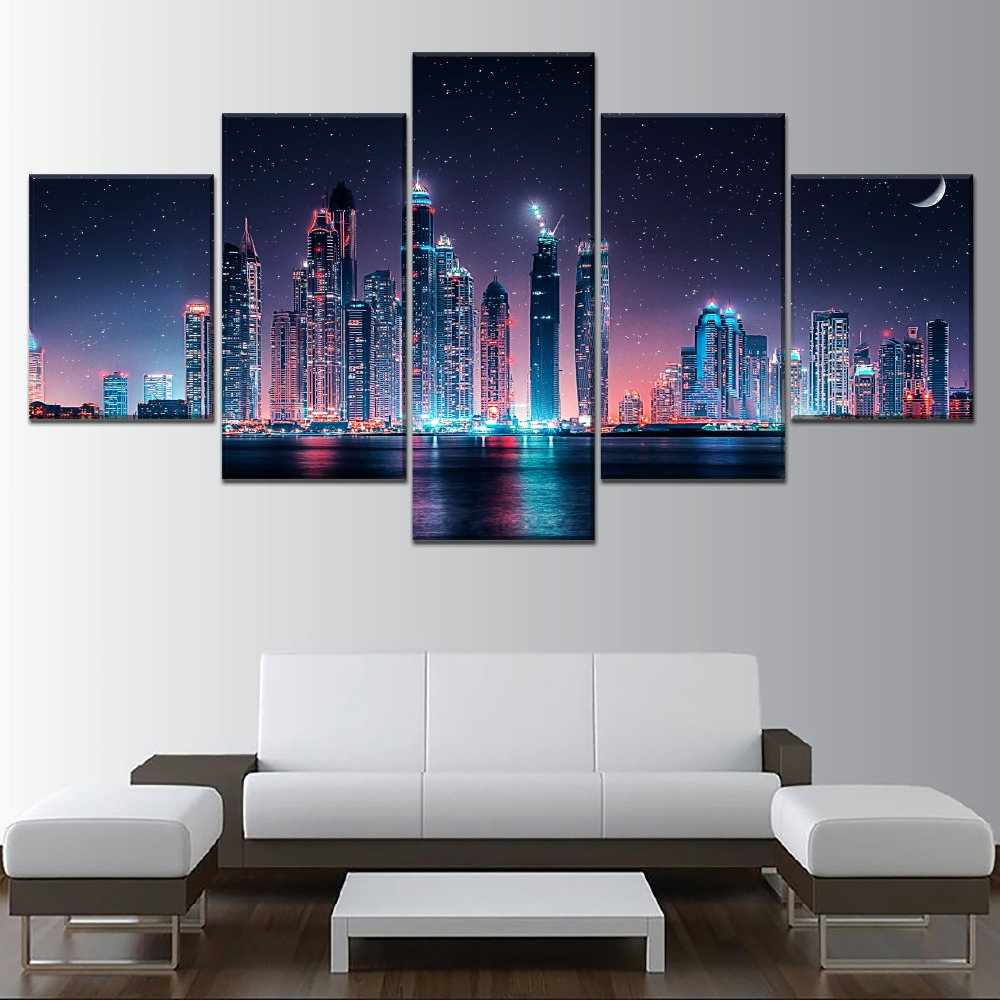 Dubai-Skyline-At-Night-Painting-1-Piece-Style-Canvas-Print-Type-Picture-Modern-Home-Decorative-Wall (3)