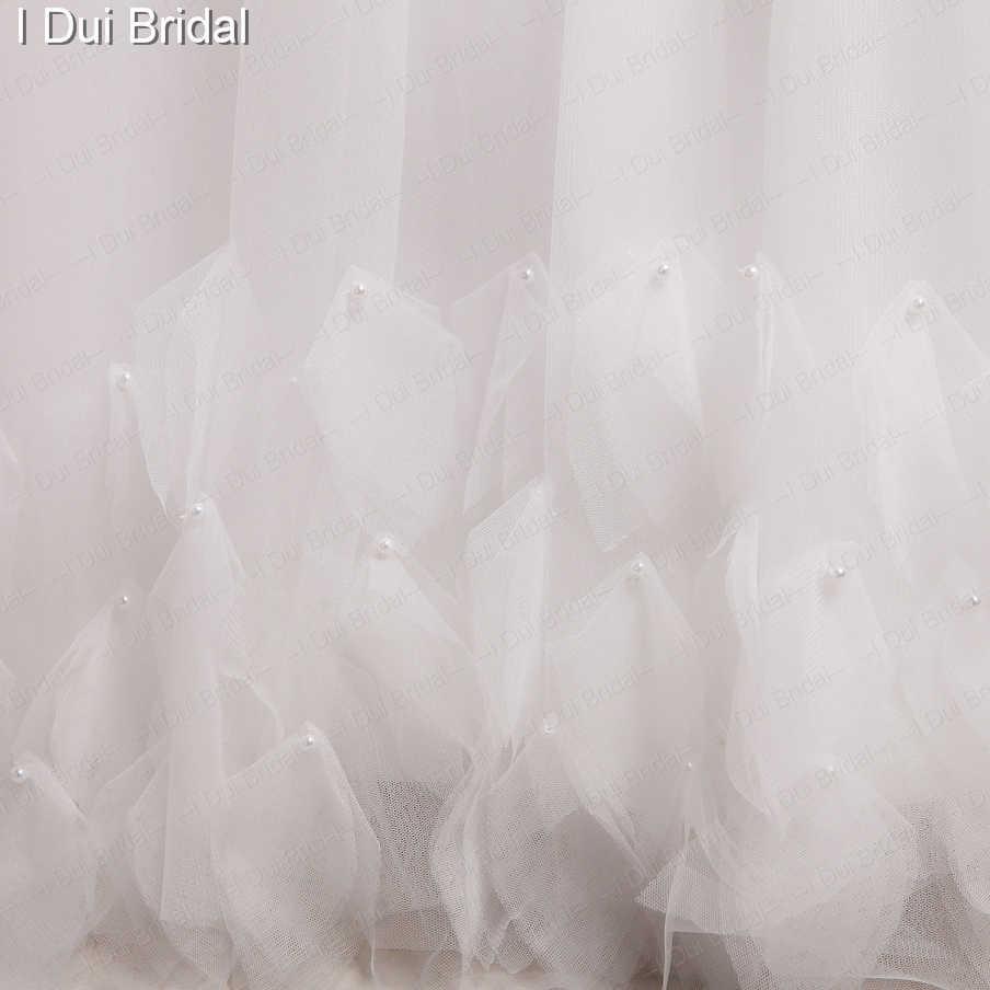 Tulle Petals Real Photo Wedding Dresses Custom Make High Quality A line Romantic