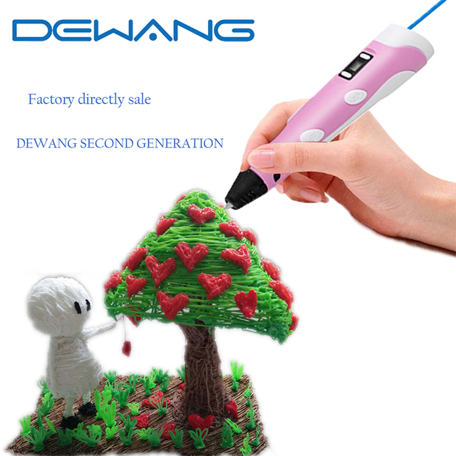DEWANG Brand 3D Pen Printer Pen Drawing Pen Kids Arts Handcrafts Christmas Gifts Safe Toy With 100M 20 Color FREE ABS Filament