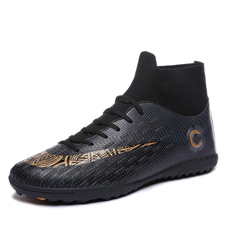 קרסול גבוהה חולצות כדורגל סוליות מגפי כדורגל טורף מגפי גברים של כדורגל נעלי סניקרס דשא מקורה שחור כחול נעלי Futsal