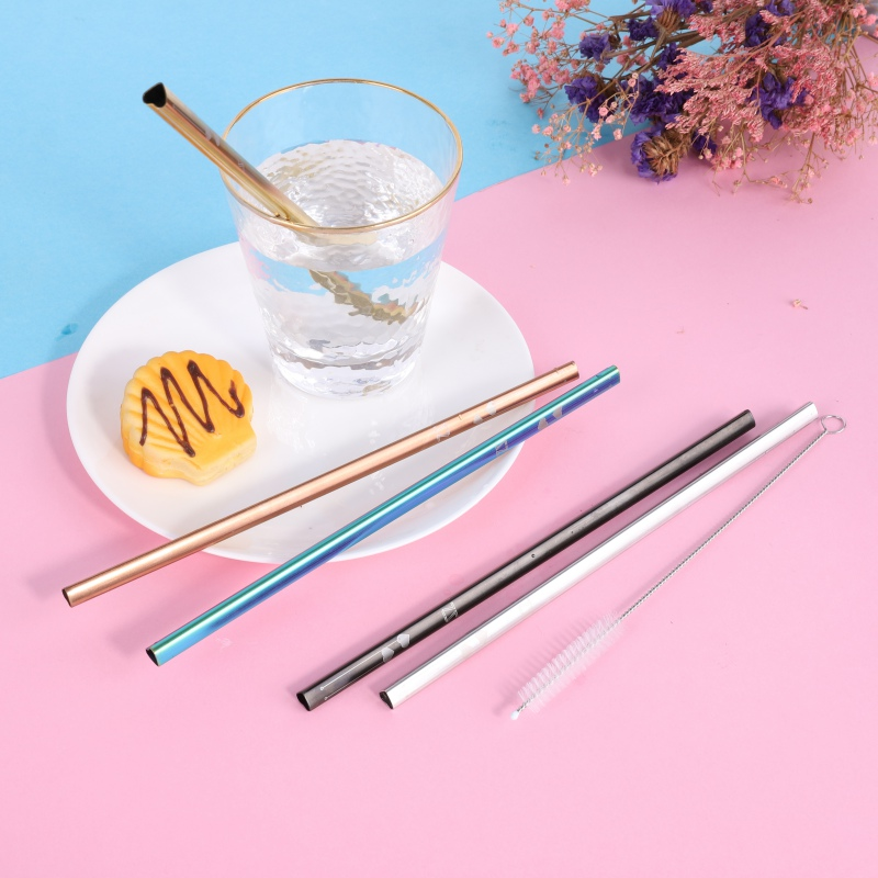 Heart Shaped Reusable Stainless Steel Metal Drinking Straws With Cleaning Brush For Hot & Cold Drinks