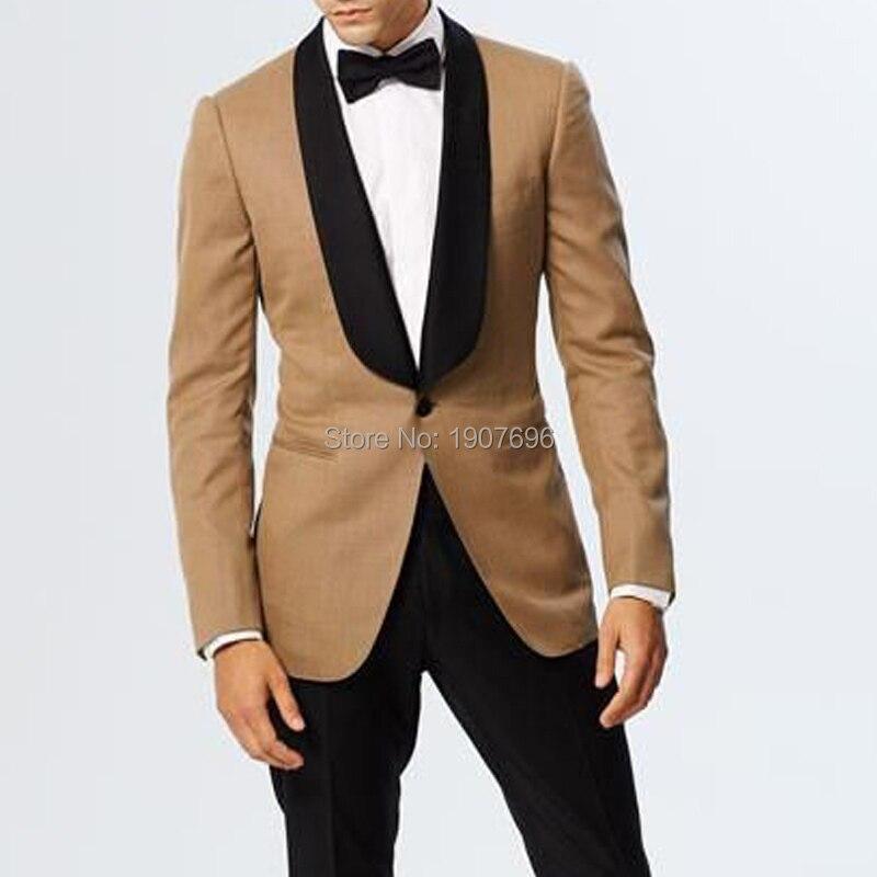 Creme Wedding Men Suit for Groomsmen Tuxedo Black Shawl Lapel Slim Fit Two Piece Mens Set Jacket Pants Latest Style