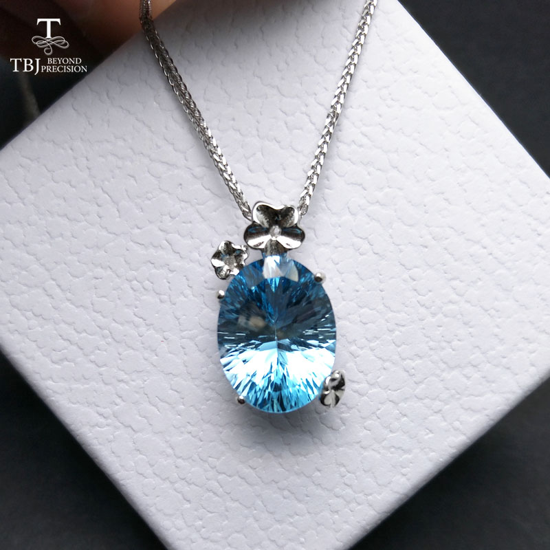 цена на TBJ,romantic pendant in 925 sterling silver with nautral sky blue topaz concave cut gemstone necklace for women with gift box