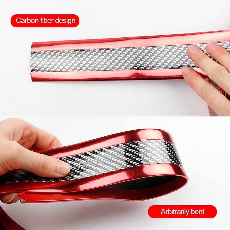 Image 3 - Автомобильный Стайлинг 5D углеродное волокно резиновый протектор порога автомобиля стикер Авто Стайлинг автомобиля бампер полосы протекторы внешние аксессуары-in Наклейки на автомобиль from Автомобили и мотоциклы