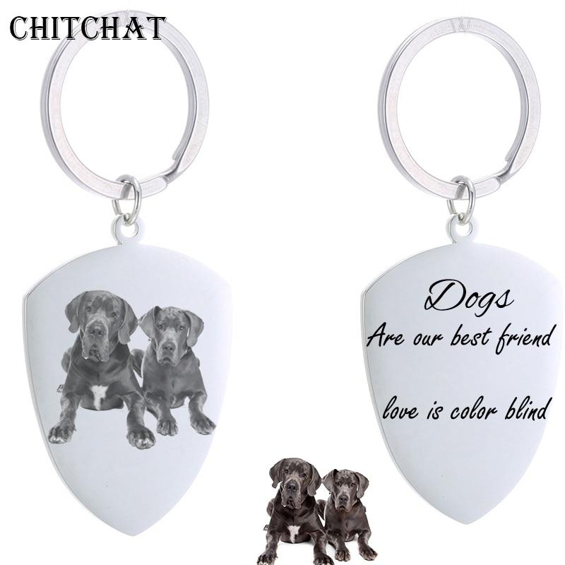 Custom Dog Tag Photo Keychain Stainless Steel Engraved Photograph Text DIY Key Chain For Love Dog Keepsake