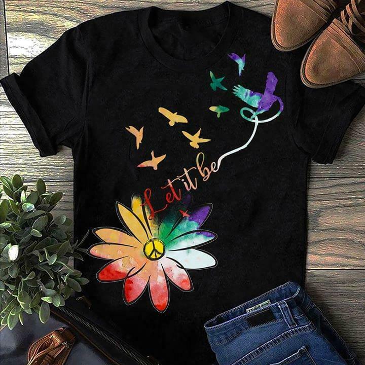 Hippie Wildflower Let It Be T Shirt Wildflower Hippie Black Cotton Men S 3Xl