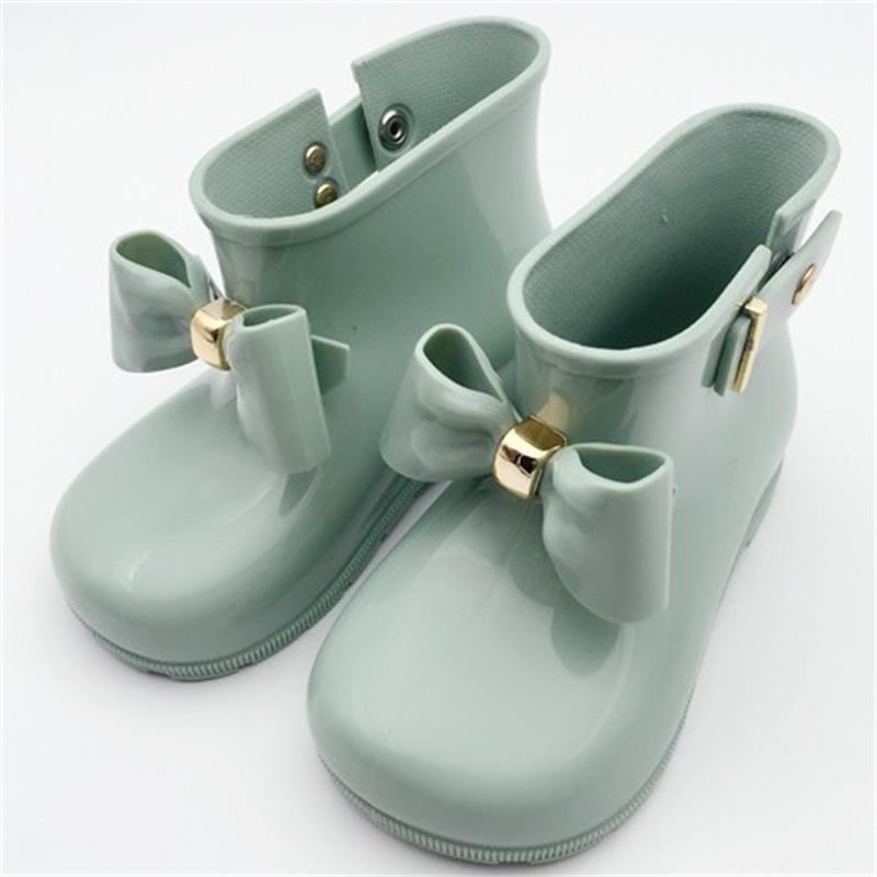 14.5-19.5cm Girls rain boots children water shoes bow rainboots shoes child rubber sole