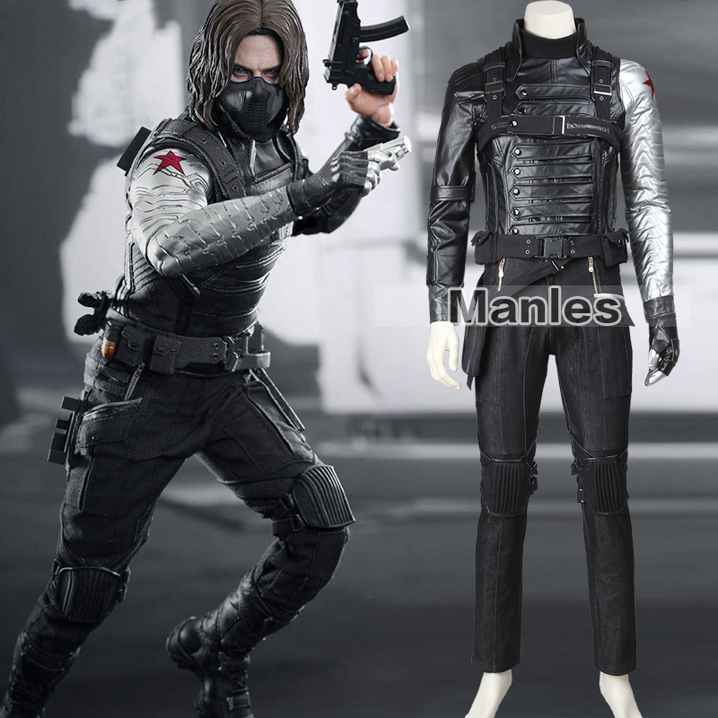 Captain America 2 Winter Soldier James Buchanan Barnes Cosplay Costume Adult Superhero Outfit Halloween Suit Full Set Men