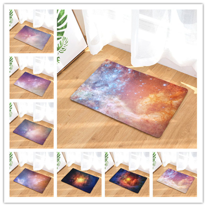 ed76638780b Flannel Floor Mats Galaxy 3 Printed Bedroom Living Room Carpets Cartoon  Pattern Mat for Hallway Anti-Slip Tapete
