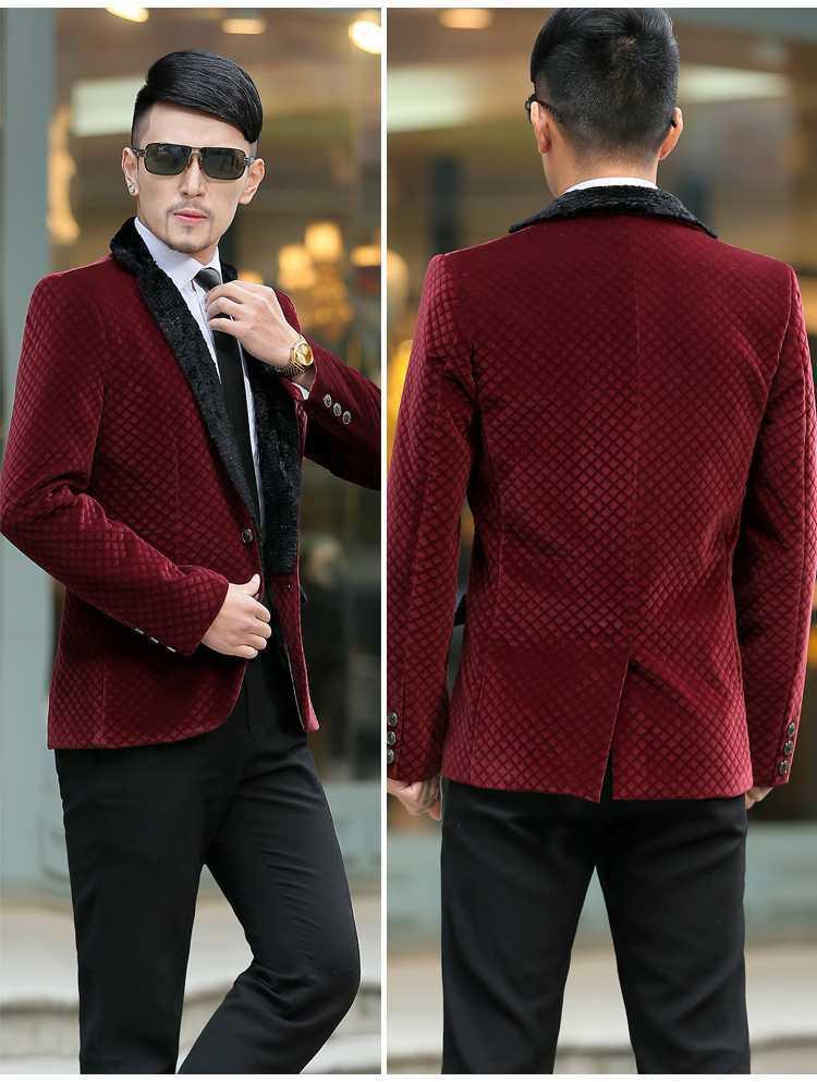 CCXO 2015 New Mens Gold Velvet Blazer Jacket Autumn Winter Wool Collar  Casual Men Suit Slim Fit Red Blazer Men Plus Size 5XL-in Blazers from Men s  Clothing ... 79a07bd4e