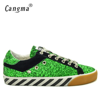 CANGMA Brand Men Spring Autumn Handmade Shoes Green Sequin Delicate Footwear Vintage Male Leisure Breathable Flats