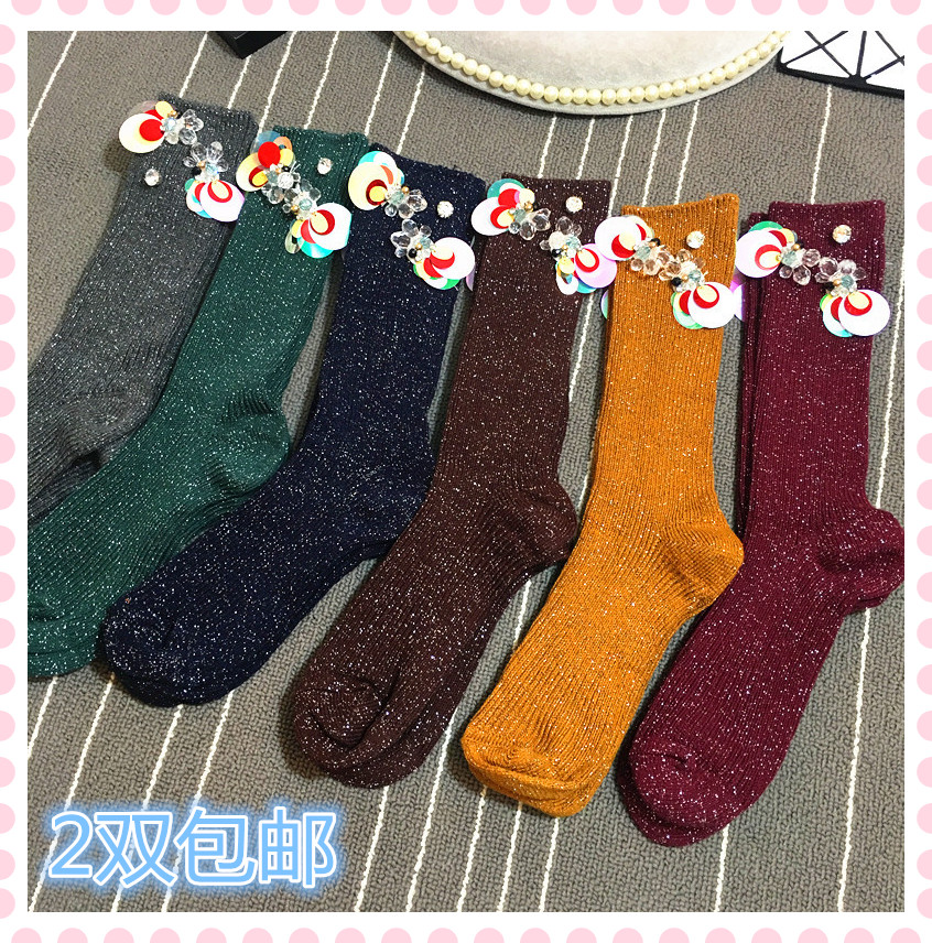 2017 stockings knee socks thickened in tube piles of cotton yarn idea female boot socks color crystal sequins all match 9a11c