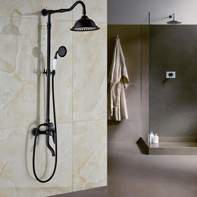 Oil Rubbed Bronze Wall Mounted Mixer Valve Rainfall Shower Faucet ...