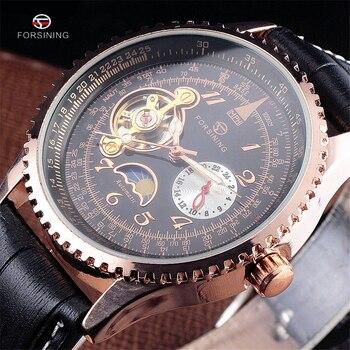 b3f65d8c88c8 Forsining marca plata y oro lujo Acero inoxidable resistente al agua hombres  esqueleto relojes mecánico transparente hombre reloj de pulsera