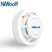 2019 nowy niezależny alarm Niwoolf i bezprzewodowa czujka dymu o wysokiej czułości 433 MHz, system alarmowy gsm, alarmy bezpieczeństwa