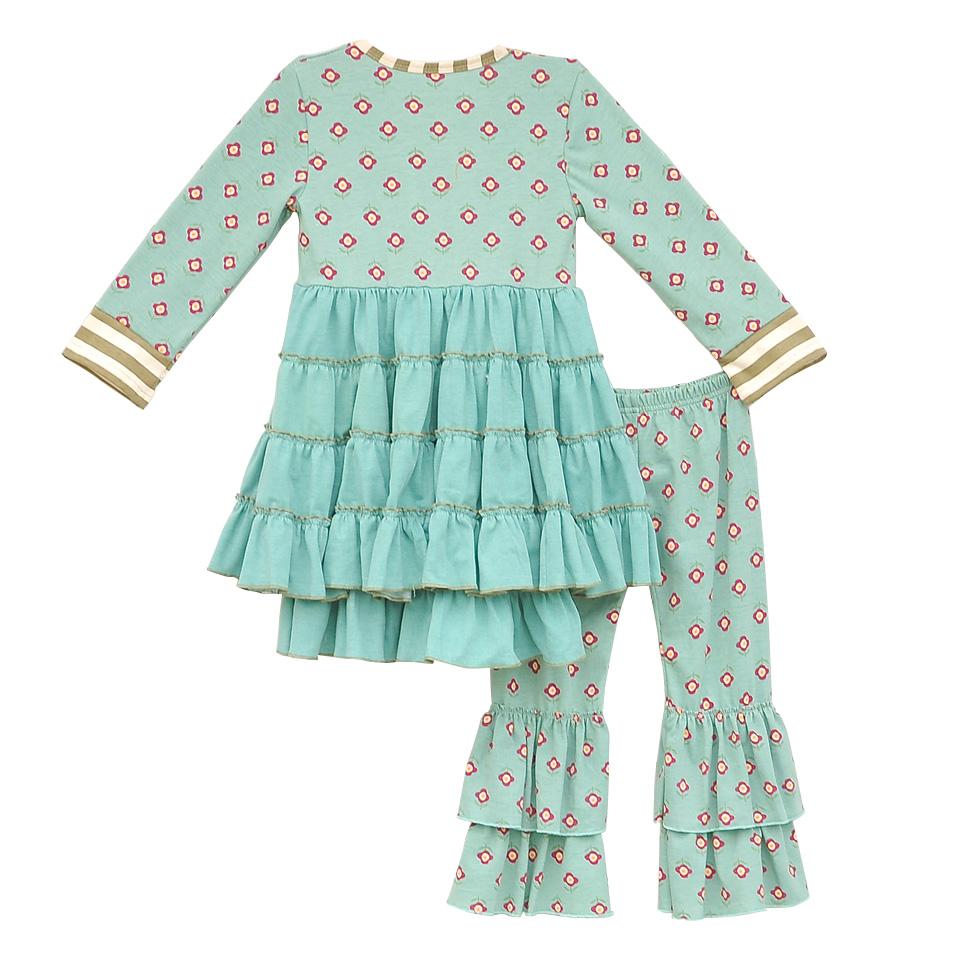 Senfkuchen-Mädchen-Outfits-Neue-Ankunft-Baby-Mint-Blumenmuster-schaukel-Top-Rüschen-Baumwolle-Hosen-Kleidung-Kinder-Herbst (1)