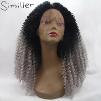 Similler Heat Resistant Fiber Loose Deep Synthetic Lace Front Wigs 150% Density Black Root Silver Color Ombre Hair 24-26