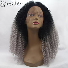 "Similler Heat Resistant Fiber Loose Deep Synthetic Lace Front Wigs 150% Density Black Root Silver Color Ombre Hair 24-26""(China)"