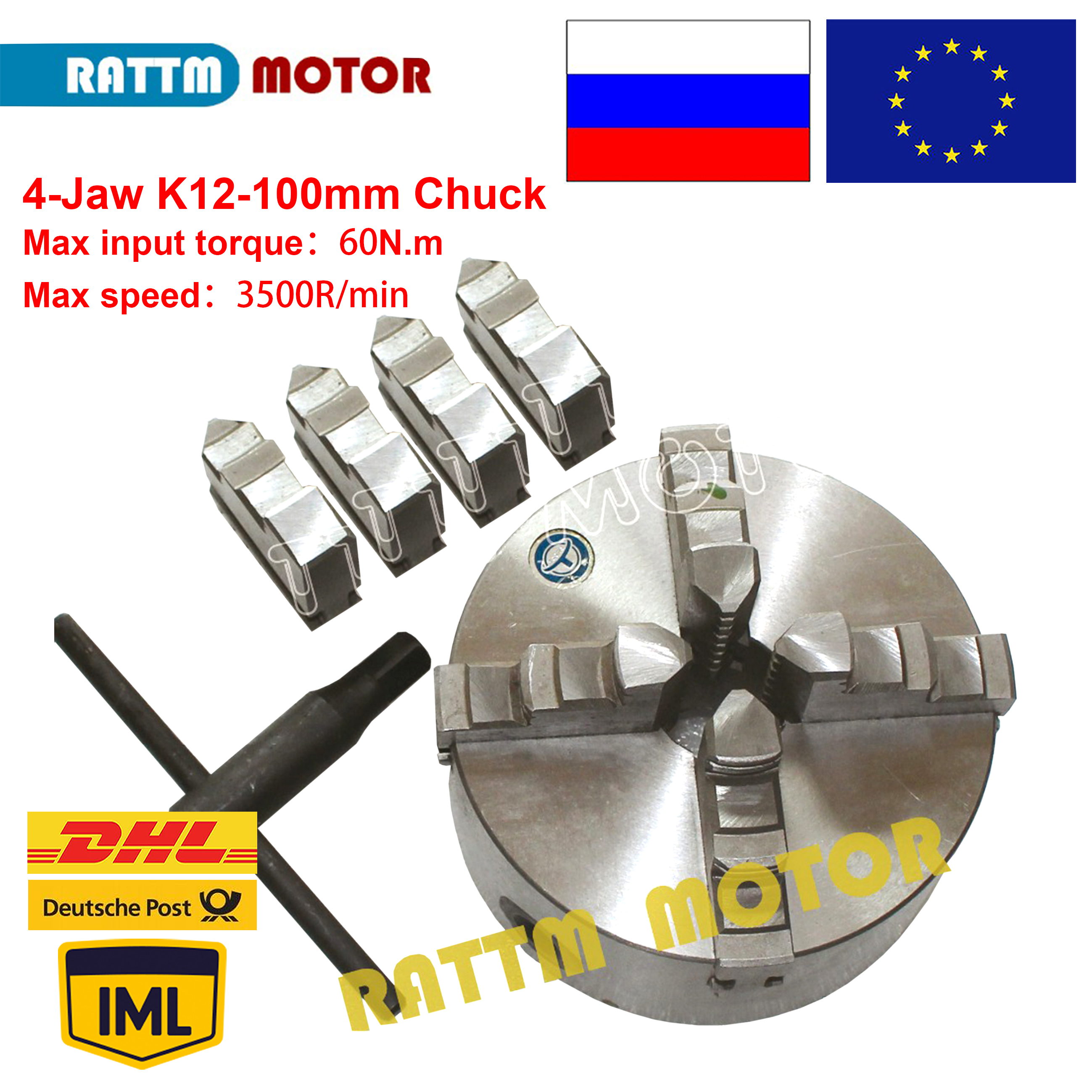 4 Jaw 100mm Self-centering Chuck  60N.m 4 Jaw Chuck Machine Tool Lathe Chuck K12-100mm