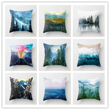 Nature Landscape Cushion Cover Waterfall Maple Lake Deciduous Forest Car Home Decorative Linen Cotton Pillow Cases