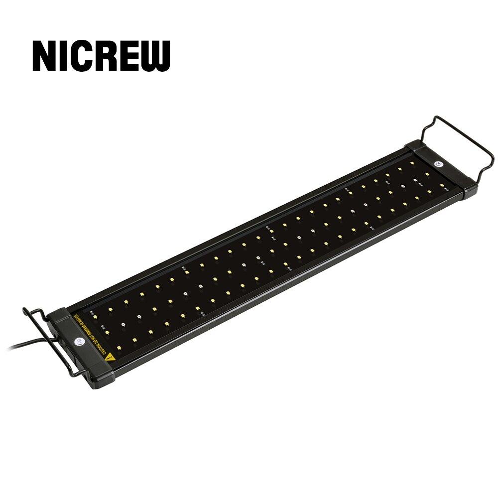 Nicrew 50-68cm LED pour Aquarium éclairage Aquarium lumière lampe avec supports extensibles 60 blanc et 12 bleu LED s convient pour Aquarium